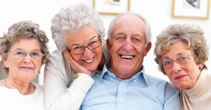 Group portrait of mature people smiling